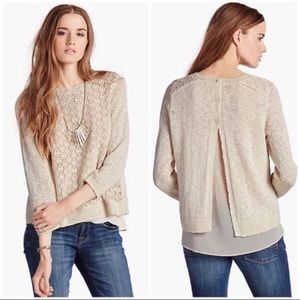 Lucky Brand Layered Lacey Cream Sweater Blouse